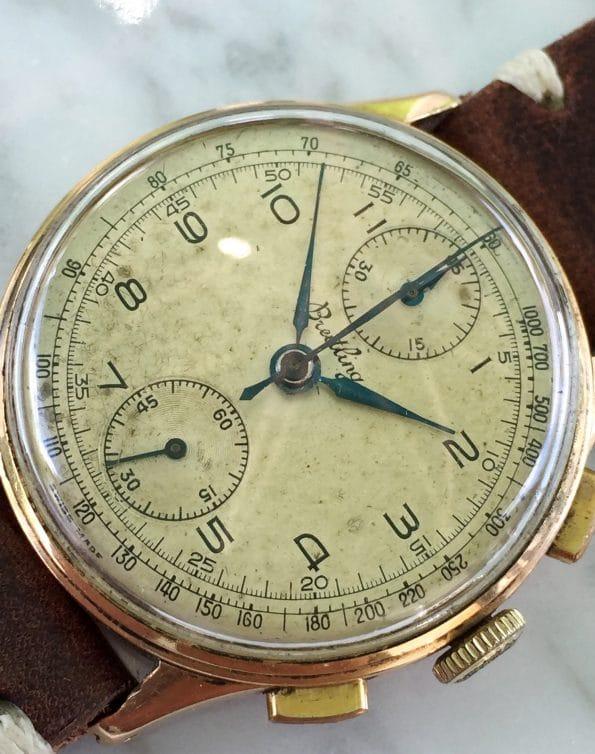 Toller Vintage Breitling Chronograph Rosegold Ref 178 Vollgold