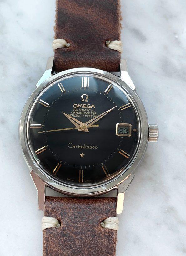 Restaurierte Omega Constellation Pie Pan Automatik Vintage schwarz