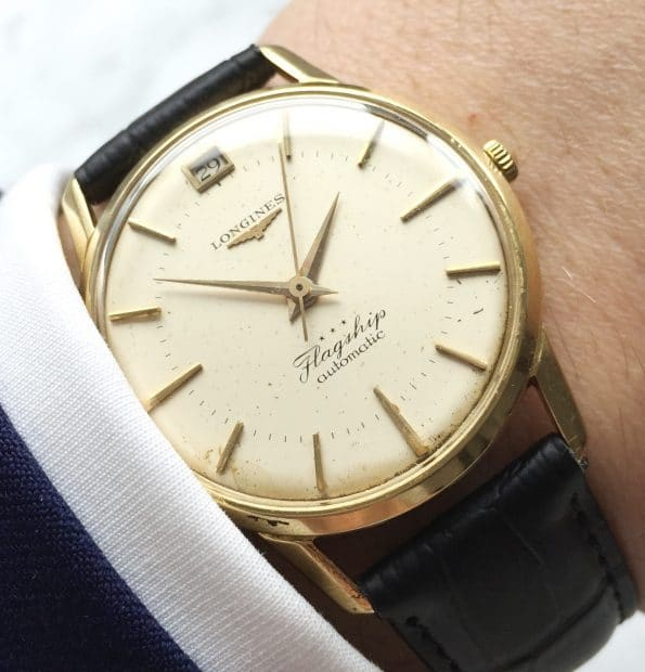 BIG SHIP LOGO Beautiful Longines Flagship Solid Gold
