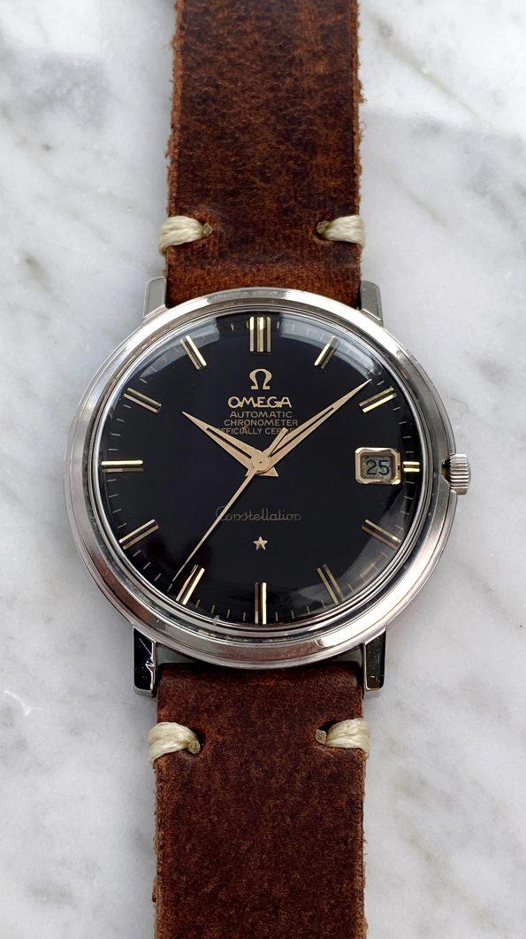 Omega Constellation Automatik Vintage schwarzes Ziffernblatt restauriert