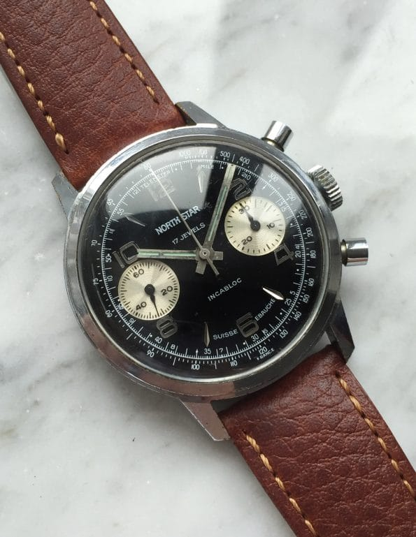 Northstar Precision Watch Company Reverse Panda Dial Chronograph 36mm Valjoux 7733