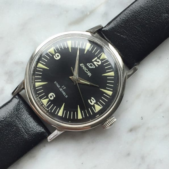 Vintage Enicar OCEAN PEARL Watch with black Explorer dial