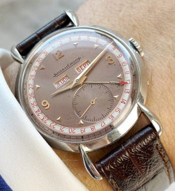 TEARDROP Lugged Vintage Jaeger LeCoultre Triple Date Salmon Dial