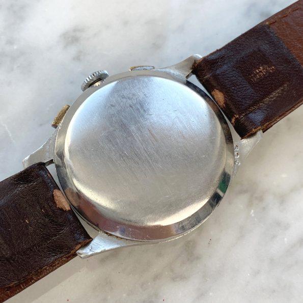 Vintage Angelus Chronograph Steel Case Black GILT Dial Vintage
