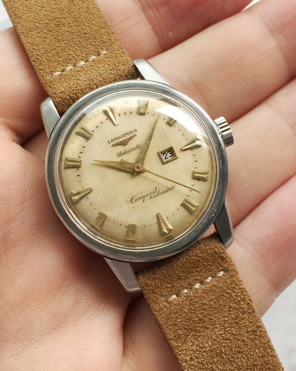 Vintage Longines Conquest Calendar Automatic Cream Dial Beefy Lugs