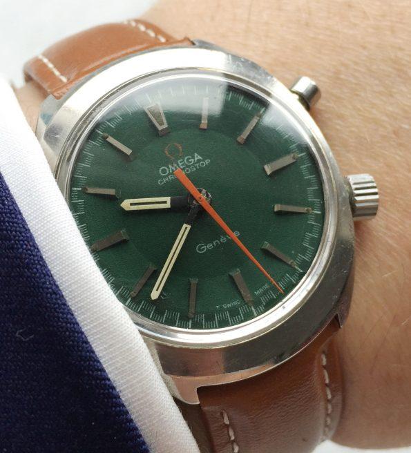 Omega Chronostop Green Dial Vintage