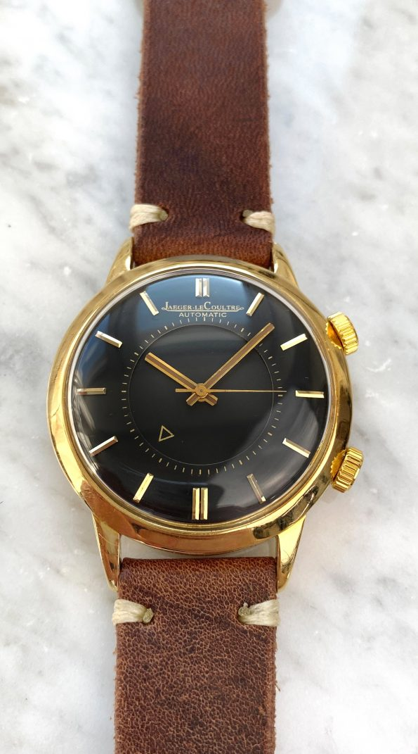 Solid Gold Jaeger LeCoultre Memovox 37mm Oversize Jumbo Wrist Alarm Automatic black dial