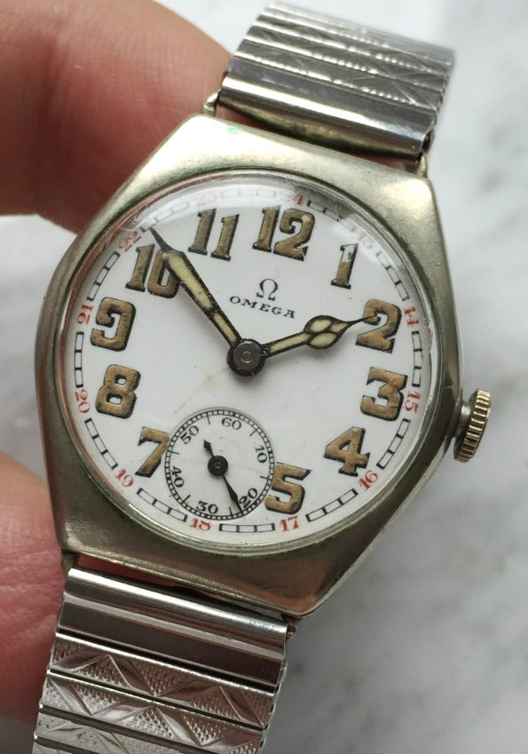 Silver Cased Omega World War 2 WW2 26.5 sob Enamel Dial