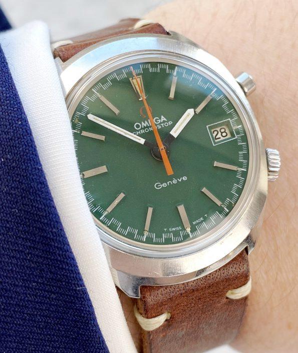 Omega Chronostop Vintage Date Steel Green Dial