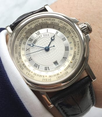 Rare 39mm Breguet Solid WHITE GOLD Hora Mundi World Timer Full Set