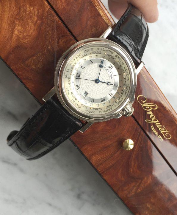 Rare 39mm Breguet Solid WHITE GOLD Hora Mundi World Timer Full Set