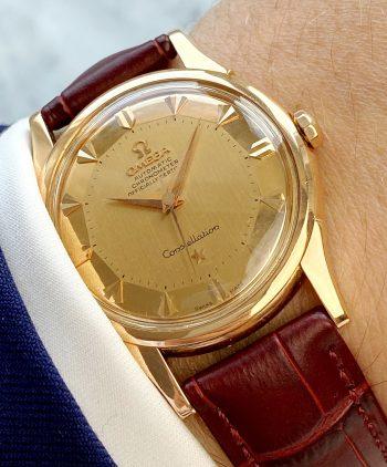 Vintage Omega Constellation Automatic Rose Gold De Lux Pie Pan