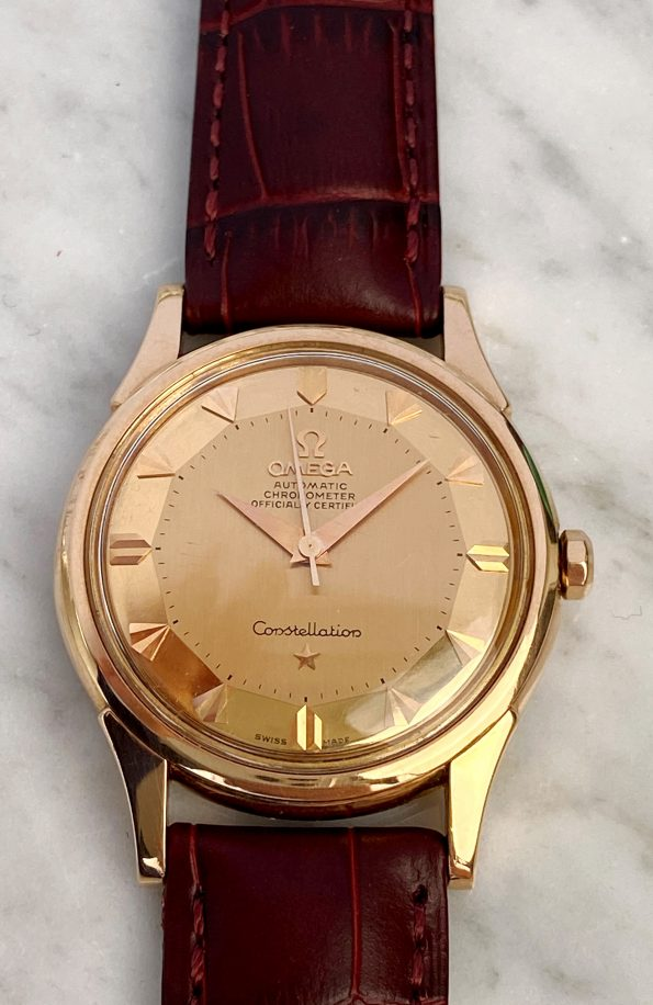Vintage Omega Constellation Automatic Rose Gold De Lux Pie Pan