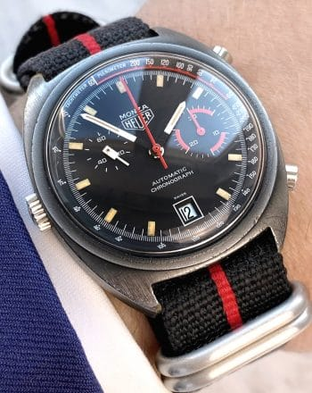 Vintage Heuer Monza PVD Black Chronograph Black Red Automatic