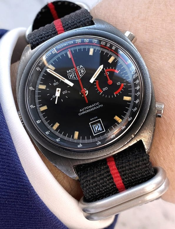 Vintage Heuer Monza PVD Chronograph Schwarz Rot Automatik Kaliber 15