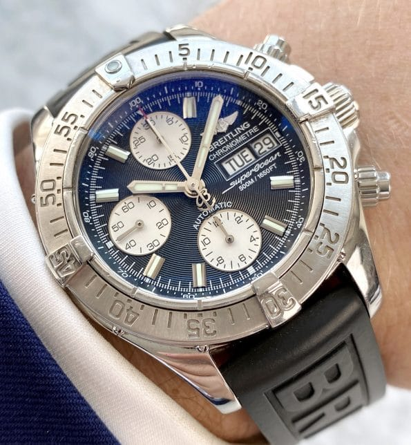 Reverse Panda Dial Breitling Superocean Automatic Chronograph Day Date
