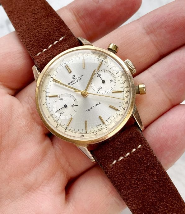 Sharp Vintage Breitling Top Time Rose Gold Plated Chronograph