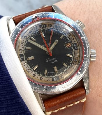 Serviced Great Enicar Sherpa Diver Guide GMT Vintage ROULETTE Date GHOST Bezel