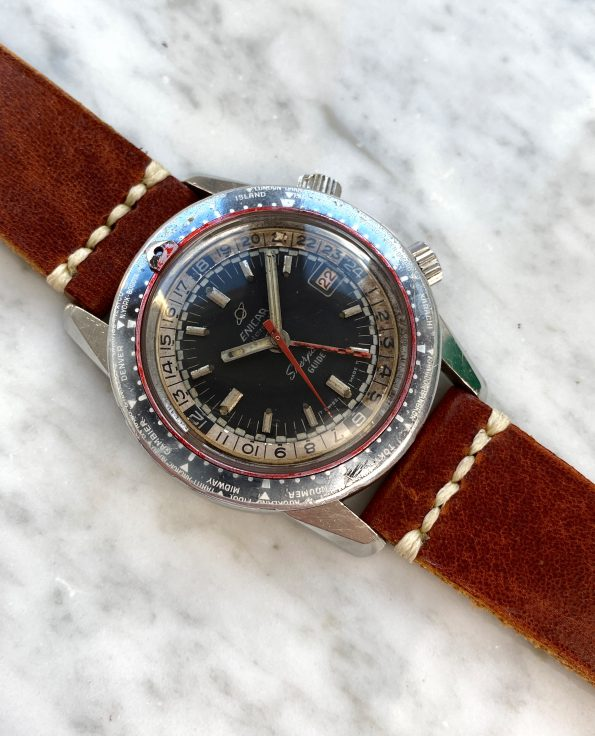 Great Enicar Sherpa Diver Guide GMT Vintage ROULETTE Date GHOST Bezel