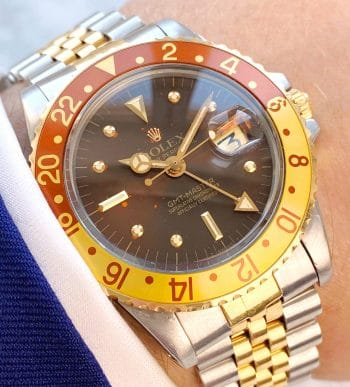 Vintage Rolex GMT Master Tiger Eye Root Beer 1675 Nipple Dial