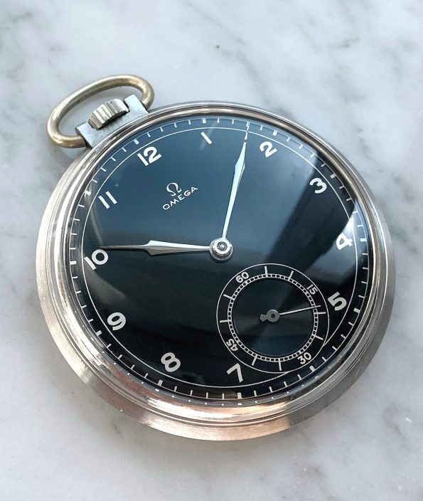 Vintage Omega Pocket Watch Black Gilt Dial Art Deco