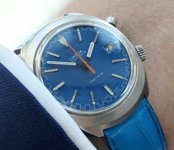 Seltene Omega Chronostop Vintage Blaues Ziffernblatt