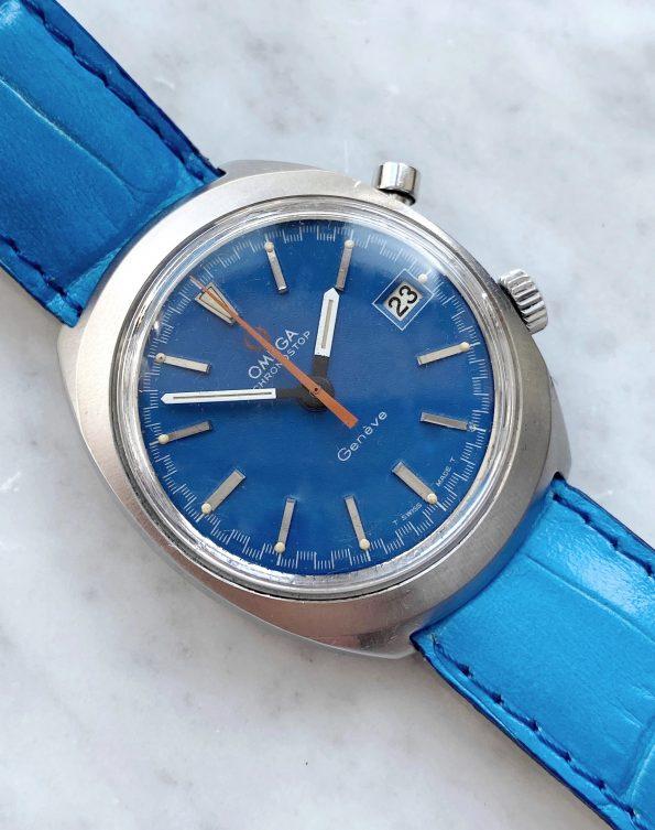 Rare Omega Chronostop Vintage Blue Version