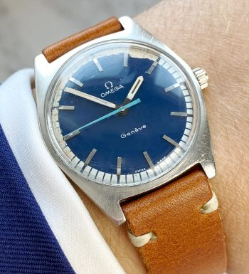 Interessante Omega Geneve Vintage mit blauem Ziffernblatt Handaufzug