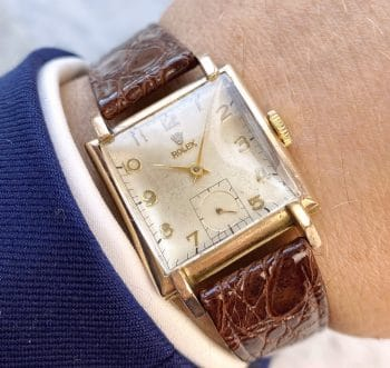 Uncommon Tank Rolex Lady Art Deco 9ct Solid ROSE Gold