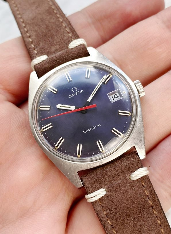 Omega Geneve Vintage Handwinding Blue Dial Red Hand