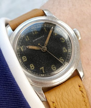 Rare Military Longines GILT Black Dial Steel Radium Calatrava