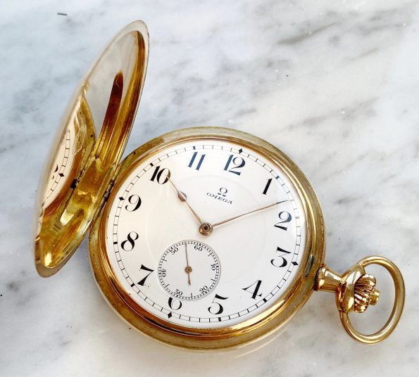 Perfect Omega Solid Pink Gold Pocket Watch with Box