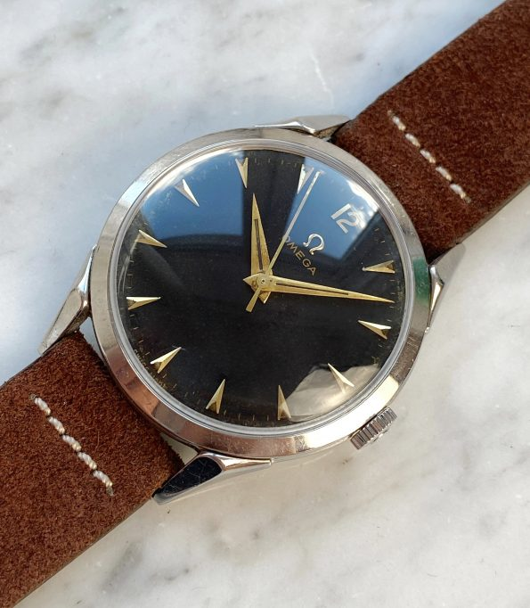 Unrestored Black gilt dialed 35mm Omega Vintage Steel