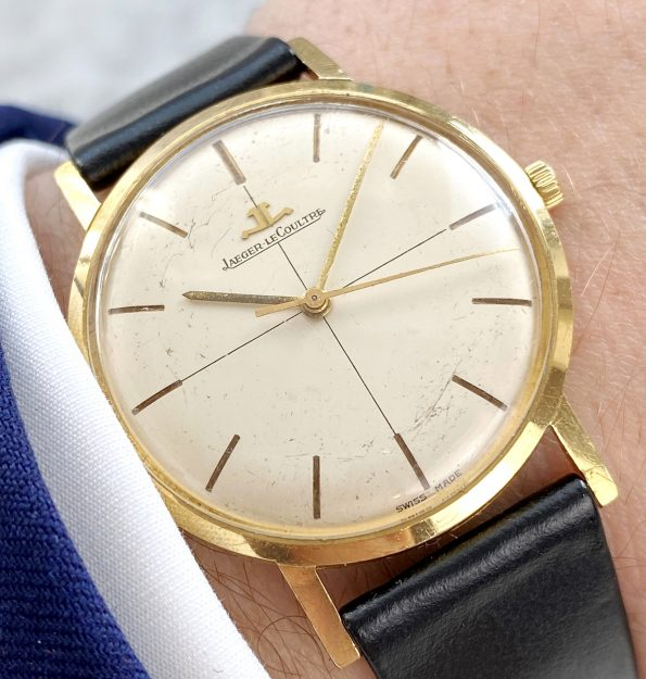 Vintage Jaeger LeCoultre Solid Gold Crosshair Dial
