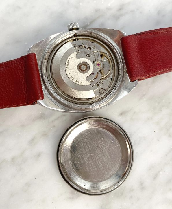 Vilor Vintage Watch Interesting Burgundy Dial Day Date Double Quickset