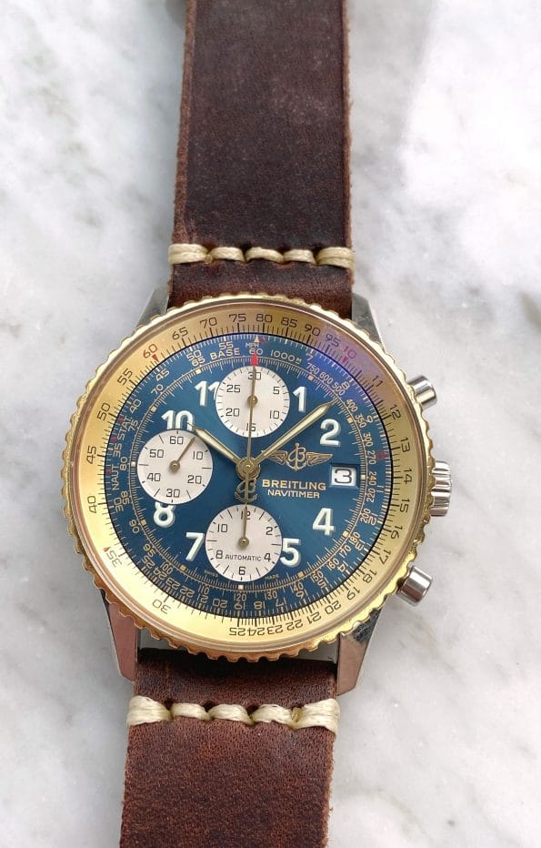 Vintage Breitling Old Navitimer Chronograph Automatic Ref d13022 with Breitling Service blue dial