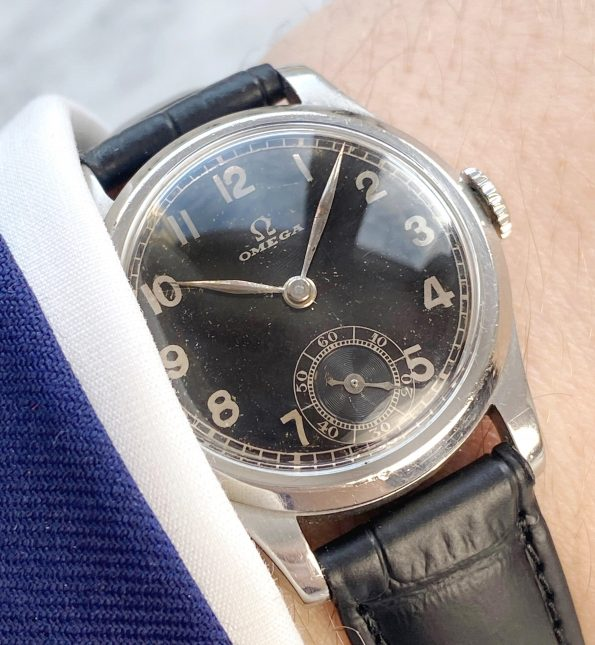Black GILT Dial Omega Vintage Steel 30mm Calatrava