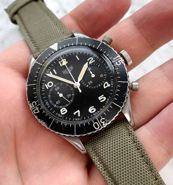 Vintage Heuer Bundeswehr Flieger Chronograph Military Numbered and Flyback
