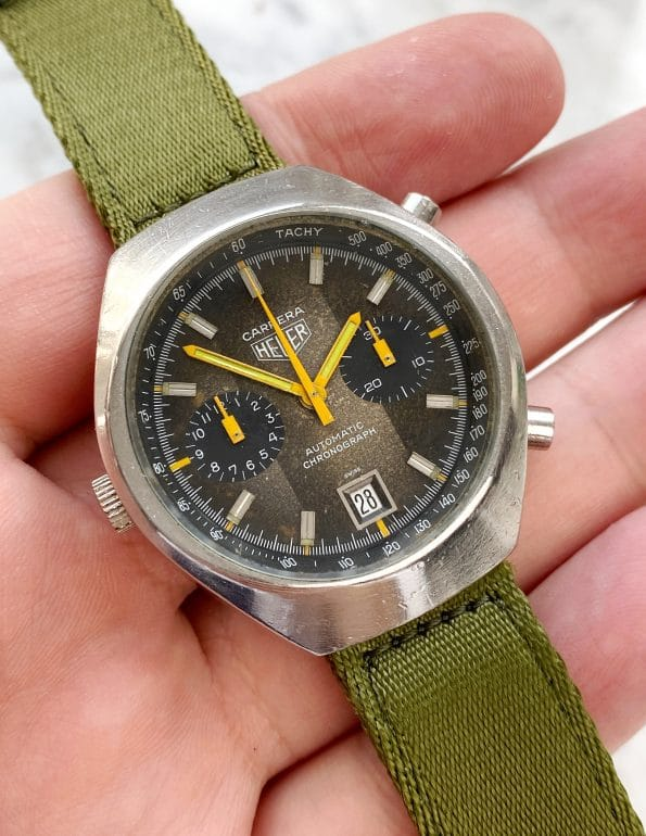 Professionally Serviced Heuer Carrera Automatic I Similar to Patek Aquanaut 2019 brown dial 110.573