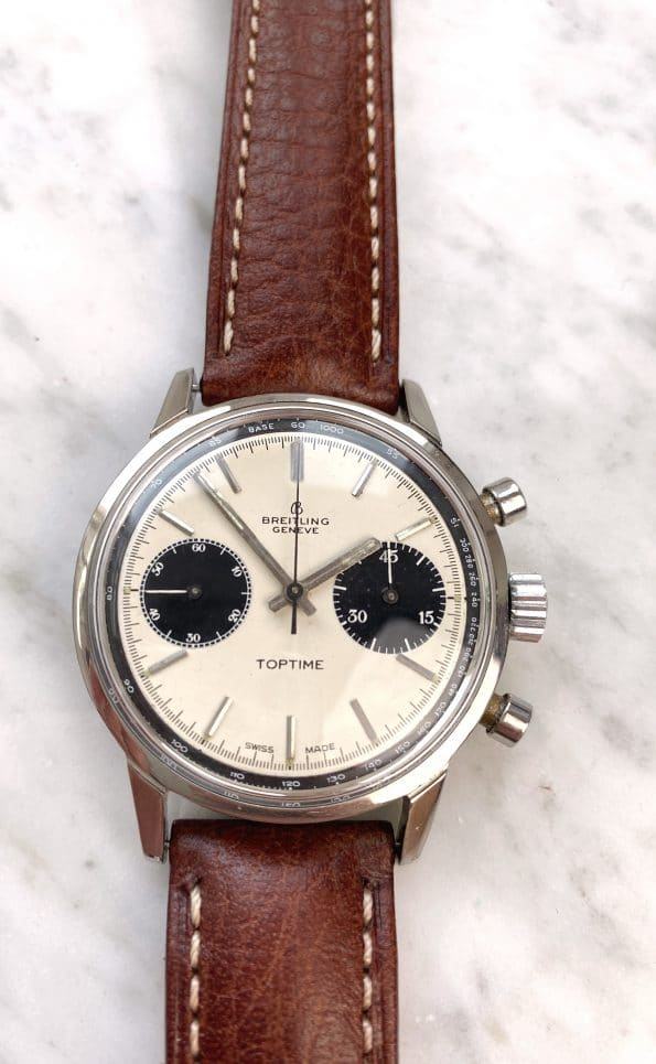 Panda Dial Breitling Top Time Stainless Steel Pump Pushers Chronograph Ref 2002