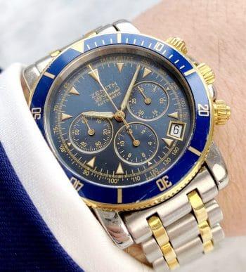 Zenith el Primero Rainbow Steel Gold blue dial FULL SET Chronograph