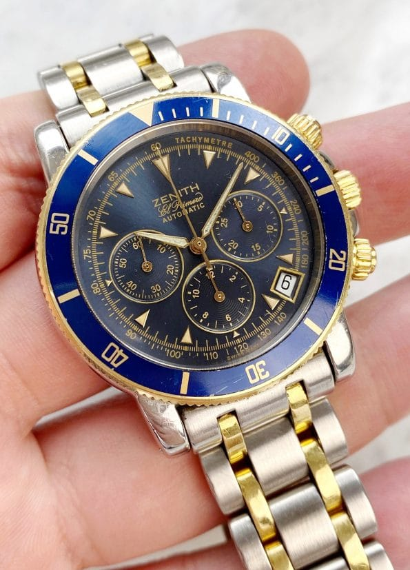 Zenith el Primero Rainbow Steel Gold blue dial FULL SET Chronograph