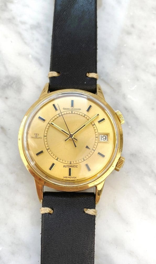 Solid Gold Jaeger LeCoultre Memovox 37mm Oversize Jumbo Wrist Alarm Automatic Date