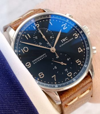 "Original PAPERS IWC Portuguese Portugieser Chronograph ""All Black"" Black Dial Automatic iw371438"