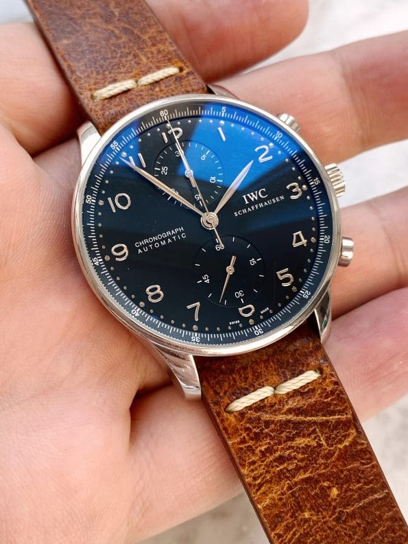"""Original PAPERS IWC Portuguese Portugieser Chronograph """"All Black"""" Black Dial Automatic iw371438"""