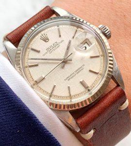 Vintage Rolex Datejust 1601 Stepped Sigma Linen Dial