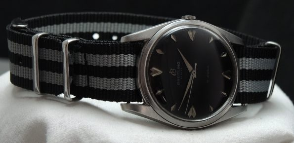 Serviced Vintage Breitling watch with black dial