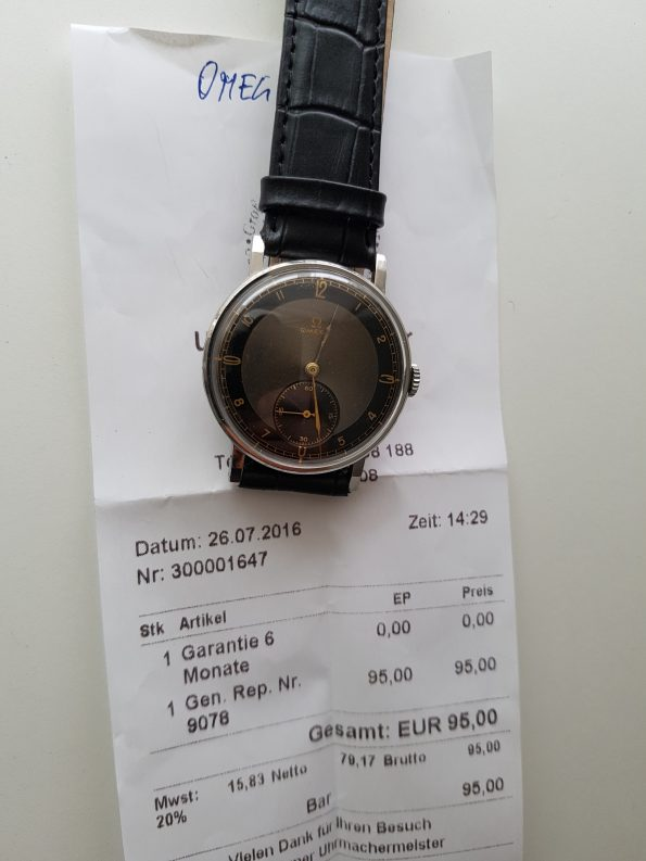 Jumbo Omega Watch with black two tone dial Mint condition