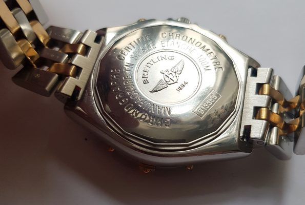 Serviced Original Breitling Crosswind Automatic Steel Gold Black Dial