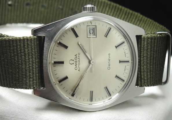Green Natostrap Omega Geneve Automatic Steel Vintage